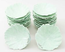 "Set of 20 Rudolstadt Porcelain Green Leaf Form 6"" Side Plates Made in Germany"