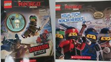 2 LEGO NINJAGO BOOKS- story activity stickers *BRAND NEW* w/ ninja minifigure