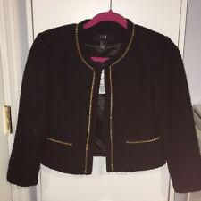 Black Tweed Boucle Gold Chain Trim 3/4 Sleeve Cropped Jacket Blazer Cardigan S