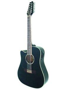 Guitare Electro-Acoustique 12 Cordes Noire Pour Gaucher
