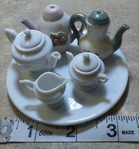 MINITURE DOLLHOUSE 8 PIECE JAPAN DOLL TEA POTS SAUCE SUGER AND Cream SET