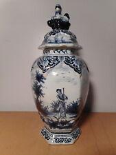 Vase pot couvert ancien faience Delft Pays Bas 19 siècle décor blanc bleu
