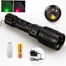 New 2000LM LTS LED Hunting Flashlight  Zoom 18650 + 5MW Green Red Laser Pointer