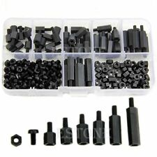 180Pcs M3 Hex Column Male-Female Standoff Spacers Screw Nut Kit Box Black Nylon