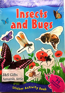 Large A4 Kids Fun Facts Activity Book Insects and Bugs 70 + Reusable Stickers