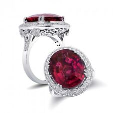 Natural Rubellite 9.81 carats set in 18K White Gold Ring