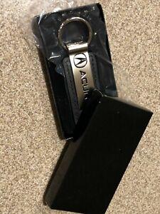 Genuine Acura Logo Leather Rectangular Black leather Key Chain Fob Ring