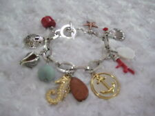 "BRIGHTON ""Maritime Ocean"" Nautical Silver-Plated Charm Bracelet (Toggle Closure)"