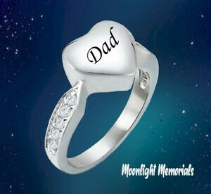 New Dad Heart Crystal Cremation Ash Urn Memorial Keepsake Ring