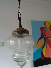 Nice antique Art Deco  brass hall  lamp cut glass