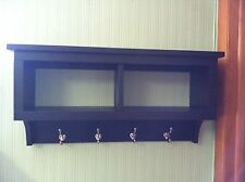 "2 Cubby Wall Shelf Country Shelf for Baskets Bath Or Entryway W Hooks 30"" Wide"