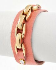 LUSH Celeb Statement Leather Pink Gold Chain Design Bracelet By Rocks Boutique