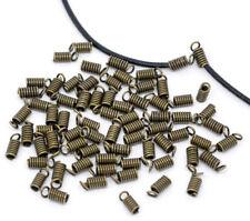LOT de 50 EMBOUTS RESSORTS cordon cuir fil lacet 9 x 4mm BRONZE SANS NICKEL