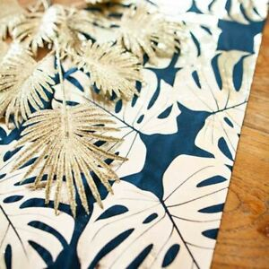 Navy & Gold Tropical Leaf 3m Table Runner