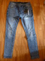 Neue Bravesoul Herren Jeans Mayweather Skinny Fit Gr W32/L32 Destroyed Look Blau