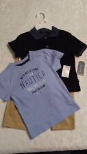 Nautica Little Boys' Toddler 3-Piece Outfit 2T Navy Blue Shirt and Khaki Pants