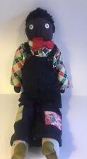 "Antique Folk Art Black Americana Stockinette Rag Doll 19"" Boy Original Clothes"