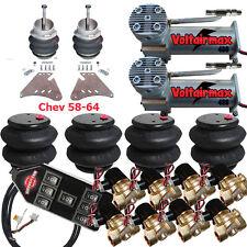 "Air Suspension Kit 3/8"" Valve 7 Switch Pewter AirMaxxx 1958 Chevy Impala"