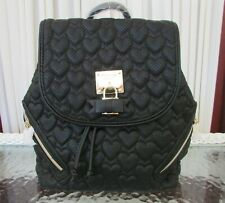 Betsey Johnson Backpack Always Be Mine Quilted Hearts Black Flap Bag Purse NWT