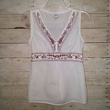 Ann Taylor Loft 10 White Red Embroidered Boho Peasant Empire Top Sleeveless EC