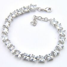 Square Cut Shiny White Fire Topaz Gemstone Silver Charming Bracelets 8 Inch