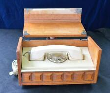 VTG 1970th Art Deco Rotary Phone in chestnut? wooden box Western Electric WORKS