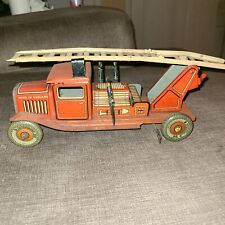 """Vintage Mettoy Pre 1946 Tin 10"""" Fire Truck Made in England with Firemen, WORKS!"""