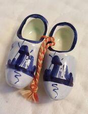 Vintage Porcelain Pair of Miniature Blue Dutch Shoes Delft Holland