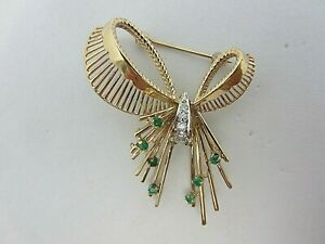 Vintage 14K Yellow Gold Emerald and Diamond Bow Pin Brooch