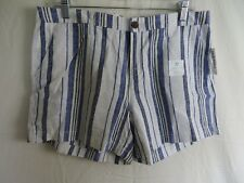 "Old Navy Shorts Linen Blend 5"" Inseam Blue White Stripe Size 12 NEW #7914"