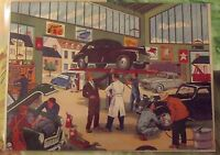 Carte-Expo Affiche Poster Set de table Mécanicien Dauphine 4cv Dinky Texaco