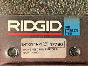 "RIDGID  # 47780 1/4""-3/8"" NPT HIGH SPEED FOR STAINLESS STEEL RH PIPE DIES NEW"