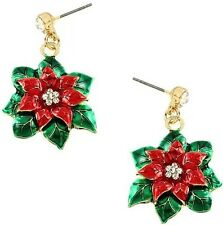 CHRISTMAS POINSETTIA RED GREEN & WHITE RHINESTONE DANGLE PIERCED EARRINGS