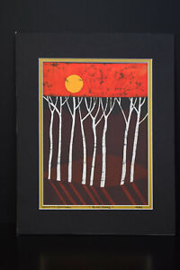 Limited Edition(15/500)Batik Media Painting Signed Amos Amit Titled Birch Trees