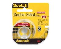 Scotch Double-Sided Tape, 1/2 In X 250 Inches, Clear 1 ea (Pack of 3)