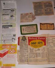 7 1950s Vintage Advertising Coupons Recipes - Robin Hood Obelisk Betty Crocker
