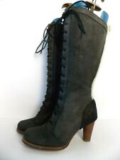 UGG Australia High Heel Boots Black Ladies Suede Lace-up Sheepskin Lining NWOT