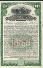 Lehigh Valley Harbor Terminal Railway 1924 New Jersey railroad bond certificate