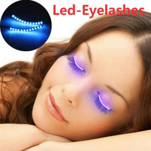 1Pair Charming Makeup Eyelashes For Party Bar LED Light False Eyelashes Shining