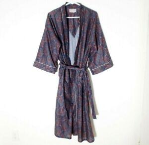 Vintage Oscar de la Renta Paisley Robe Mens One Size Midcalf Loungewear Blue Red