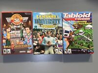 Pc Lot Of 3 Tycoon Games Coffee National Lampoon's Univercity Tabloid 2 Are New