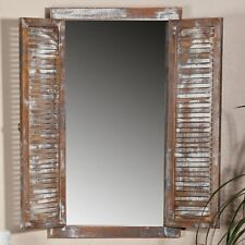 Spiegel 70cm Fensterläden Braun Landhaus Möbel Spiegelfenster Holz Shabby Glas