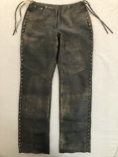 Harley-Davidson® Women's Laced studed Distressed Leather Pants 97098-04VW Size 6