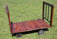 Ancien chariot industriel bois métal roues decoration loft JAC 138*70*h 98 cm
