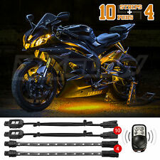 10PC POD + 4PC STRIP LED MOTORCYCLE ACCENT LIGHT KIT HARLEY+WIRELES AMBER