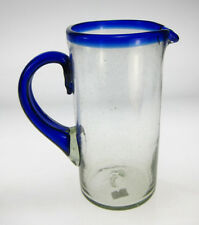 Mexican Glass Pitcher, hand blown, blue rim, 1.75 quarts, 56 oz, straight design