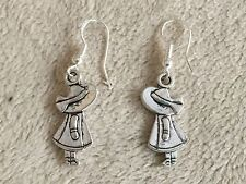 Sterling Silver Ear Wire w/Tibetan Silver Pretty Girl Charm Dangle Drop Earrings