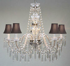 VENETIAN STYLE ALL CRYSTAL CHANDELIER W/ BLACK SHADES!