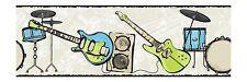 Rock & Roll Band Blue and Green w/ Black Edge Wallpaper Border CK7782B