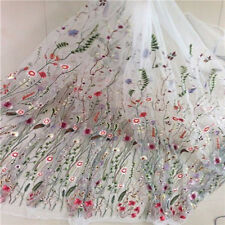 1 Yard Floral Lace Flower Embroidery Mesh Wedding Dress Fabric Aestheticism